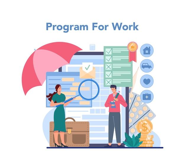 Serviço ou plataforma online de agente de seguros. idéia de proteção da propriedade e da vida contra danos.