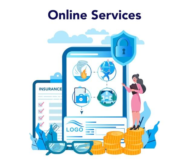 Serviço ou plataforma online de agente de seguros. ideia de segurança e proteção da propriedade e da vida contra danos.