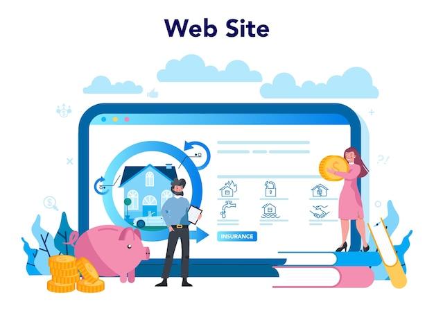 Serviço ou plataforma online de agente de seguros