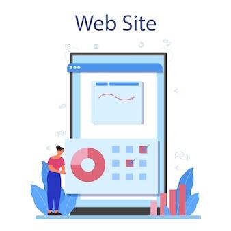 Serviço ou plataforma online de analista de sites.