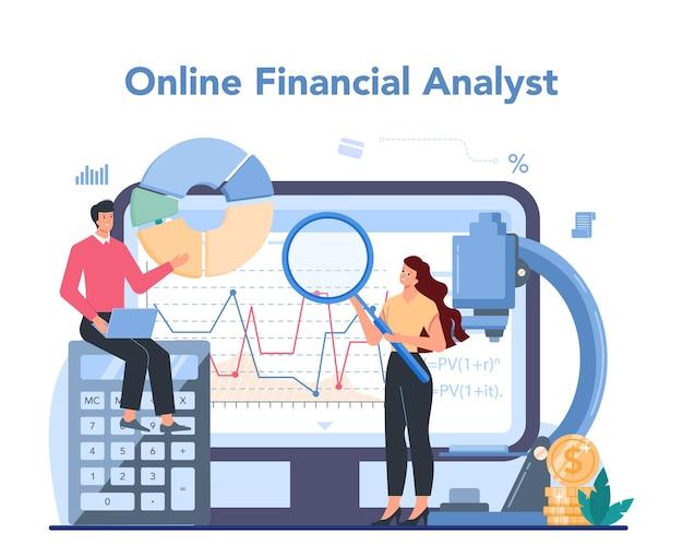 Serviço ou plataforma online de analista financeiro