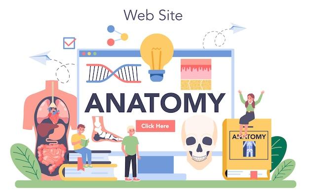 Serviço ou plataforma online de anatomia. estudo do órgão interno humano. conceito de anatomia e biologia. sistema do corpo humano. local na rede internet. ilustração vetorial plana