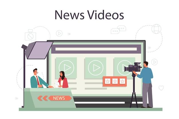 Serviço ou plataforma online de apresentador de tv