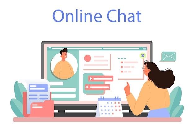 Serviço ou plataforma online de assistente pessoal de empresário. ilustração vetorial plana