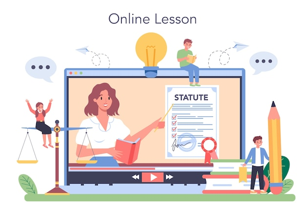 Serviço ou plataforma online de aula de direito