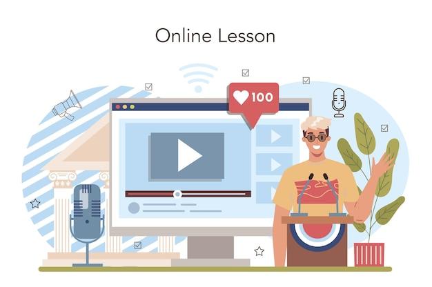 Serviço ou plataforma online de aula de escola de retórica. alunos treinando público