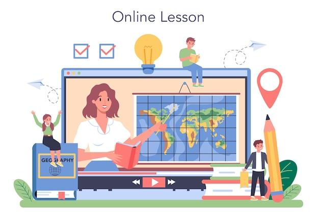 Serviço ou plataforma online de aula de geografia
