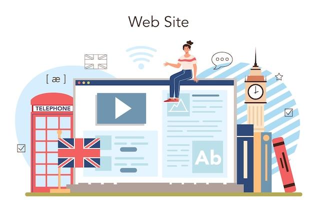 Serviço ou plataforma online de aula de inglês. estudar línguas estrangeiras