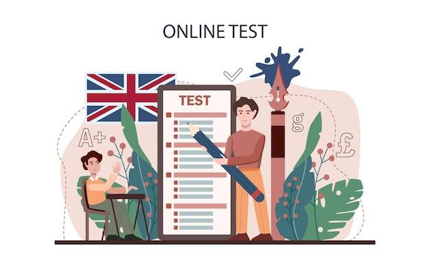 Serviço ou plataforma online de aula de inglês. estude línguas estrangeiras na escola