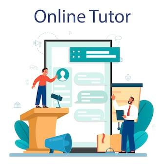Serviço ou plataforma online de aula de retórica ou elocução