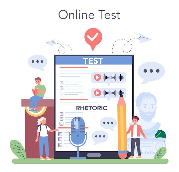 Serviço ou plataforma online de aula de retórica