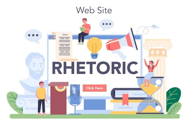 Serviço ou plataforma online de aula de retórica.