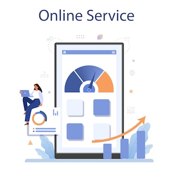 Serviço ou plataforma online de benchmarking. ideia de desenvolvimento e melhoria de negócios. compare com os concorrentes.