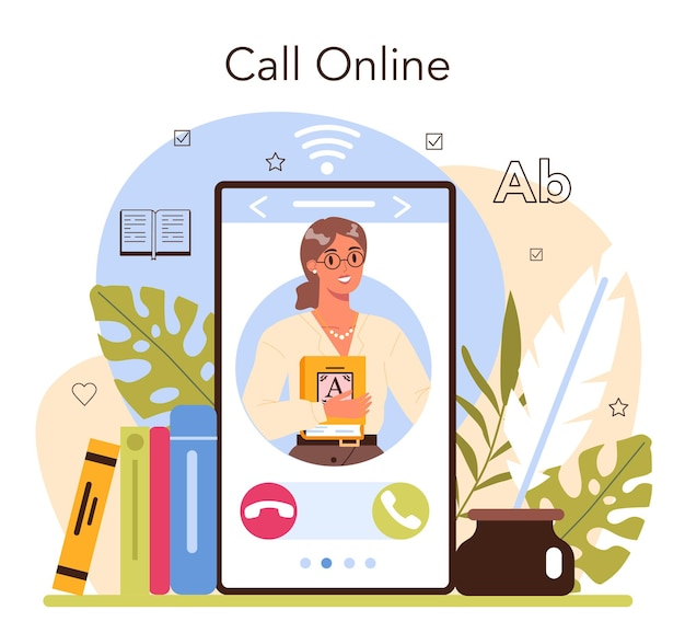 Serviço ou plataforma online de bibliotecário. catalogação da equipe da biblioteca