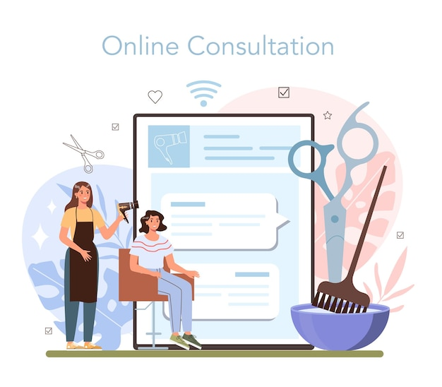 Serviço ou plataforma online de cabeleireiro. ideia de cuidados com os cabelos em salão de beleza