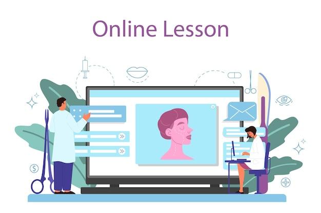 Serviço ou plataforma online de cirurgião plástico. ideia de correção corporal e facial. hospital de rinoplastia e procedimento anti-envelhecimento. aula online.