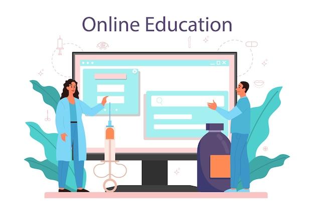 Serviço ou plataforma online de cirurgião plástico. idéia de correção corporal. educação online.