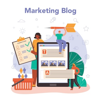 Serviço ou plataforma online de comerciante. publicidade de marca ou produto