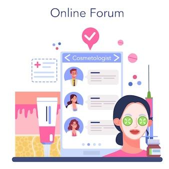 Serviço ou plataforma online de cosmetologistas. cuidados com a pele e procedimento de tratamento.