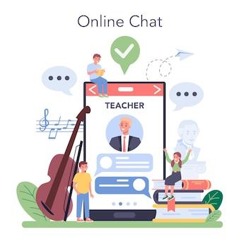 Serviço ou plataforma online de curso de educação musical.