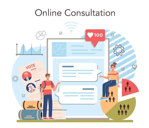 Serviço ou plataforma online de curso de gestão e ciências sociais