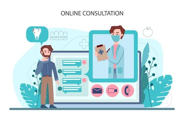 Serviço ou plataforma online de dentista. médico dentista uniformizado tratando