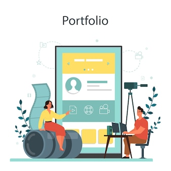 Serviço ou plataforma online de designer de movimento ou vídeo. editor de animação, produção de desenhos animados. portfólio online.