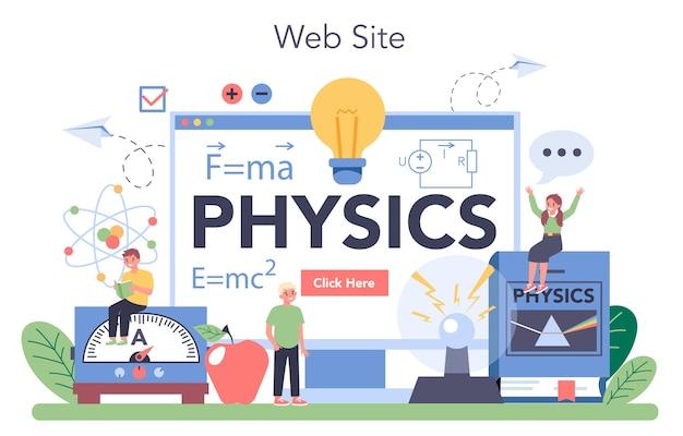 Serviço ou plataforma online de disciplina de física escolar.