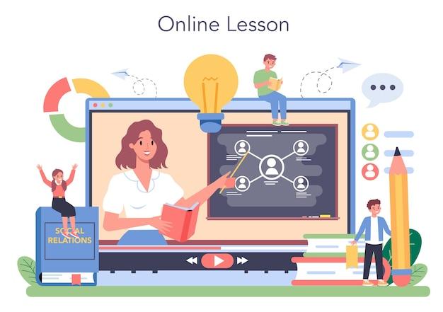 Serviço ou plataforma online de disciplina escolar de sociologia