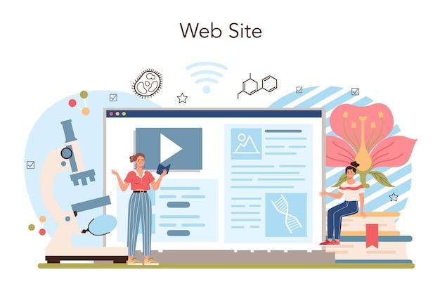 Serviço ou plataforma online de disciplinas escolares de biologia. alunos explorando
