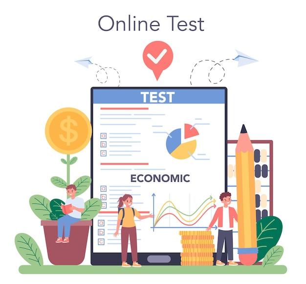 Serviço ou plataforma online de disciplinas escolares de economia. aluno estudando economia e orçamento. teste online.