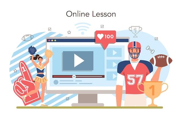 Serviço ou plataforma online de educação física ou aula de esporte escolar