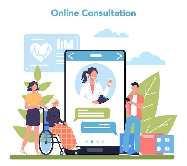 Serviço ou plataforma online de enfermeira