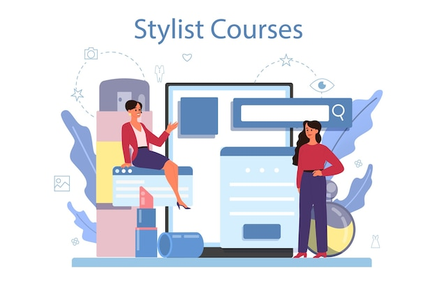 Serviço ou plataforma online de estilista de moda. trabalho moderno e criativo. cursos de estilista.