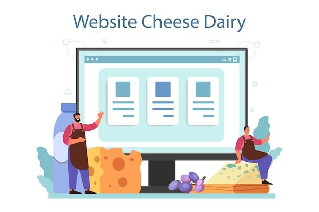 Serviço ou plataforma online de fabricante de queijos. chef profissional fazendo bloco de queijo. produção de queijo. local na rede internet. ilustração vetorial isolada