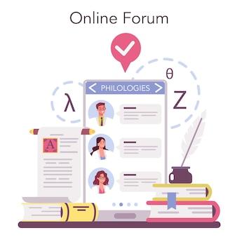 Serviço ou plataforma online de filólogo