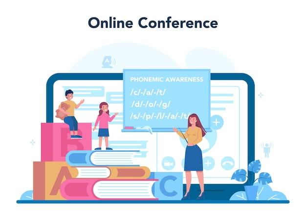 Serviço ou plataforma online de fonoaudiólogo. correção didática e ideia de tratamento. conferência online.