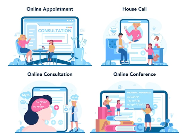 Serviço ou plataforma online de fonoaudiólogo