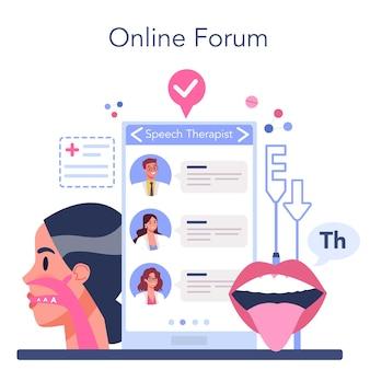 Serviço ou plataforma online de fonoaudiólogo.