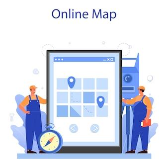 Serviço ou plataforma online de geodésia. tecnologia de levantamento topográfico.