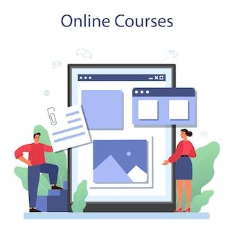 Serviço ou plataforma online de gerenciamento de conteúdo. ideia de estratégia digital e conteúdo para criação de redes sociais. curso online. ilustração plana isolada