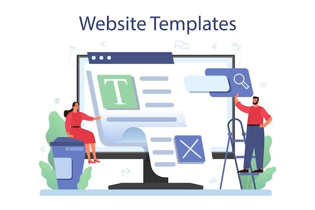 Serviço ou plataforma online de gerenciamento de conteúdo. ideia de estratégia digital e conteúdo para criação de redes sociais. modelos de site.
