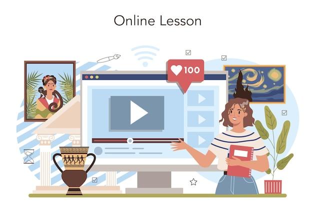 Serviço ou plataforma online de história da educação escolar de arte. estudante estudando