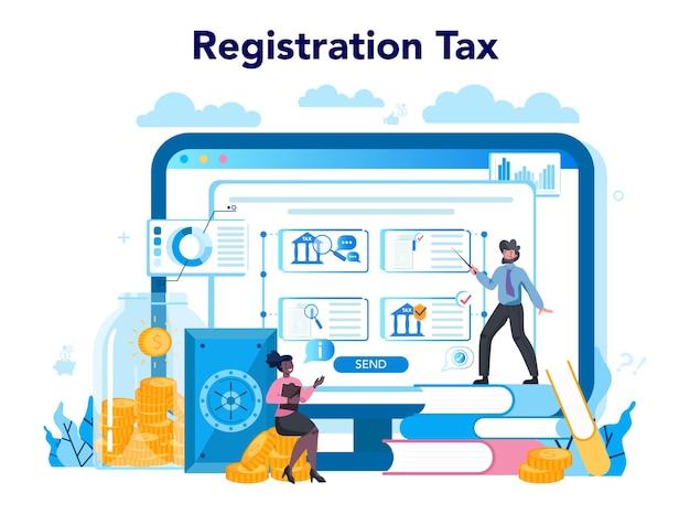 Serviço ou plataforma online de inspetor fiscal