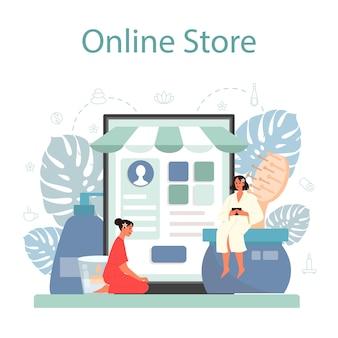 Serviço ou plataforma online de massagem e massagista. procedimento de spa em salão de beleza. tratamento e relaxamento das costas. loja online.