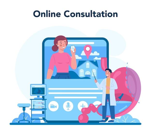 Serviço ou plataforma online de médico de gastroenterologia