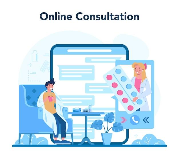 Serviço ou plataforma online de médico ou médico de saúde geral