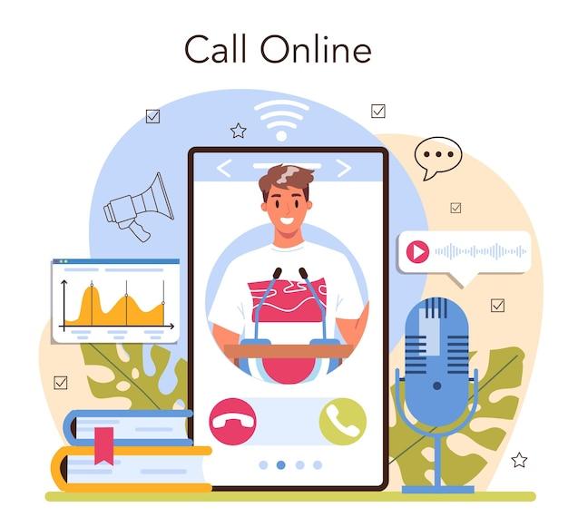 Serviço ou plataforma online de palestrante. especialista em retórica falando ao microfone. seminário de negócios ou palestrante. chamada online. ilustração vetorial plana
