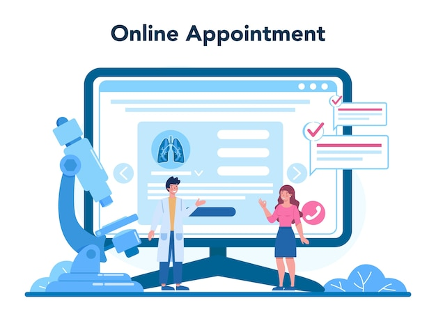 Serviço ou plataforma online de pneumologista