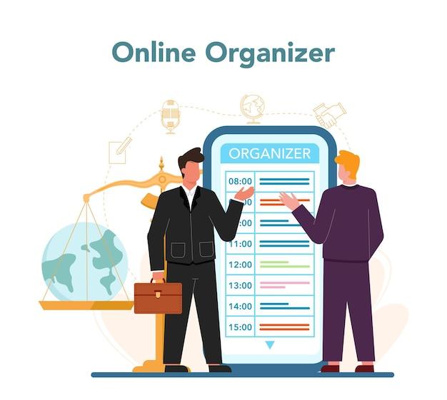 Serviço ou plataforma online de profissão de diplomata